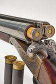 Double barreled old shotgun charged — Stock Photo