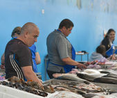 Sellers trade fish in the food market — Stock Photo