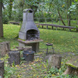 BBQ area in the forest — Stock Photo