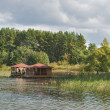 Pavilions to stay in the reservoir — Stock Photo