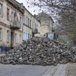 Major paving stone street repair in Lviv — Stock Photo