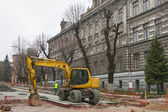 Major street repairing in Lviv — Stockfoto