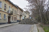 Major paving stone.street repair in Lviv — Foto Stock