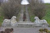 Stone lions in Olesko castle park — Foto de Stock