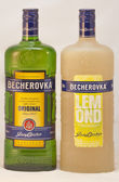 Karlovarska Becherovka bottles against white — Stock Photo