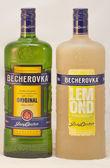 Karlovarska Becherovka bottles against white — Stock Photo