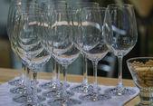 Empty wine glasses for tasting — Stock Photo