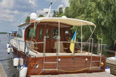 rear deck luxury yacht — ストック写真