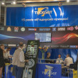 Stock Photo: Thorsat TV satellite provider company booth