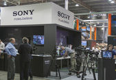 Sony TV equipment booth — Stock Photo