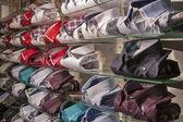Showcase with lined cotton men's shirts — Foto de Stock