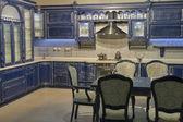 Blue vintage kitchen furniture — Stock Photo