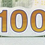 Number 100. Hundred dollars bill fragment — Stock Photo #42685301
