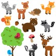 Vector Set of Cute Woodland and Forest Animals — Stock vektor
