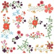 Vector Set of Vintage Style Flower Clusters - Image vectorielle