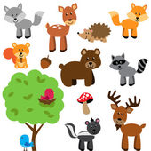 Vector Set of Cute Woodland and Forest Animals — Vettoriale Stock