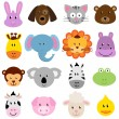 Vector Zoo Animal Faces Set — Stock Vector