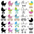 Collection of Bright Baby Carriage Vectors — Stock Vector