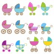 Collection of Bright Baby Carriage Vectors - Stock Vector