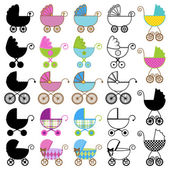 Collection of Bright Baby Carriage Vectors — Vector de stock