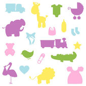 Vector Collection of Baby Shower Silhouettes — Stock Vector
