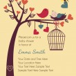 Bird and Bees Invitation Template or Background — Vector de stock #23238722