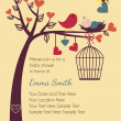ストックベクタ: Bird and Bees Invitation Template or Background