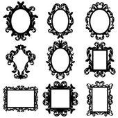 Vector Set of Baroque Frame Silhouettes — Stock Vector