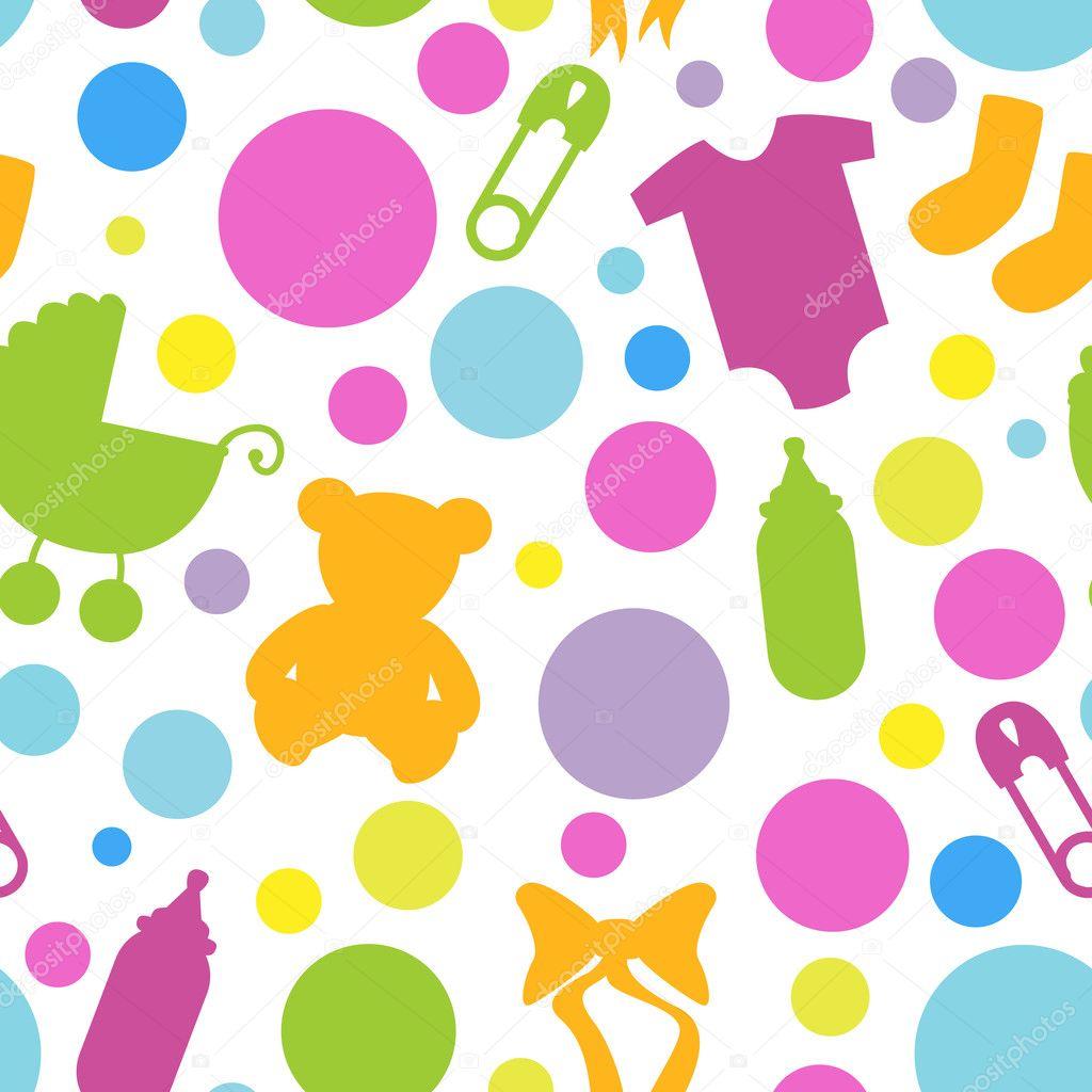 Seamless Baby Themed Pattern — Stock Vector © PinkPueblo 23238508