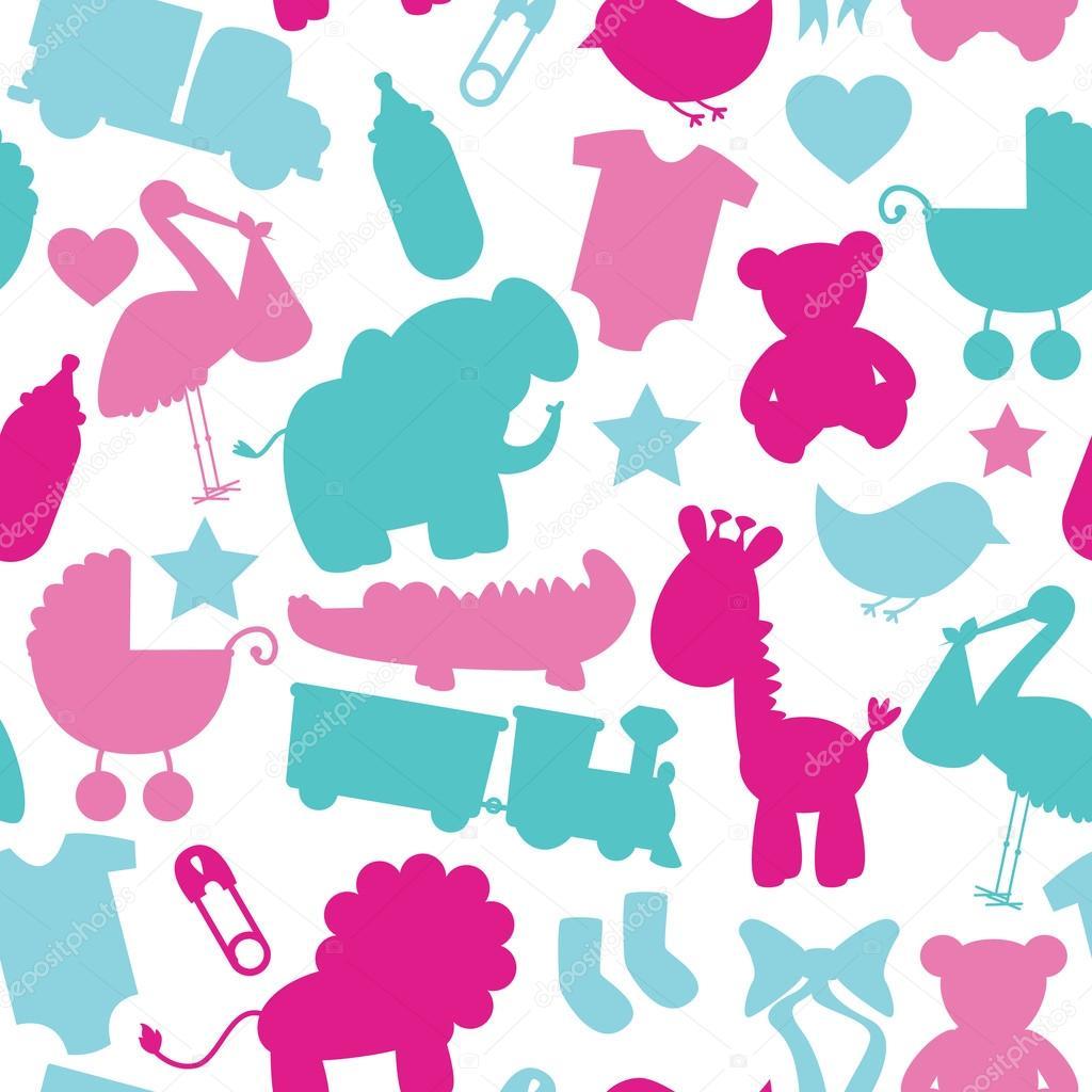 无缝宝宝主题模式 — 图库矢量图片 #23239314