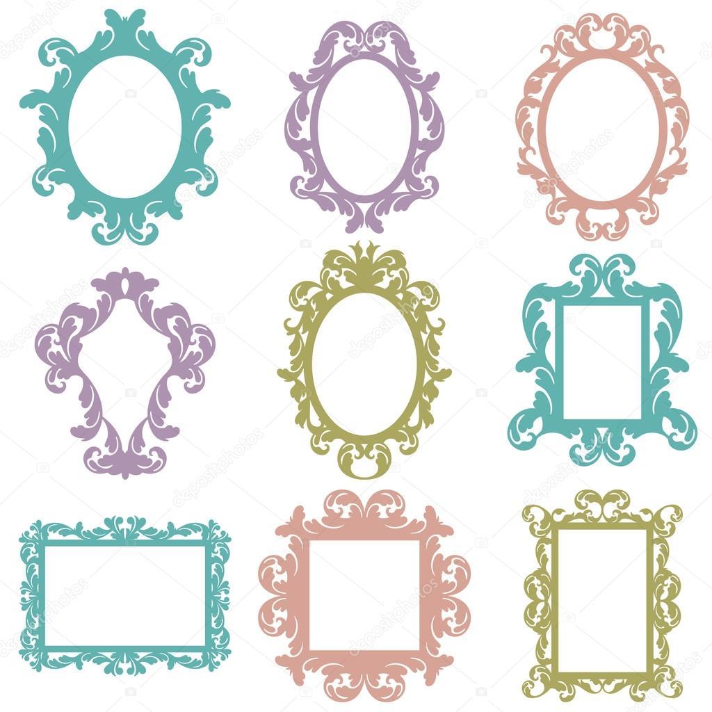 Glasses Frame Vector : Vector Set of Baroque Frame Silhouettes Stock Vector ...