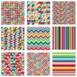Stock Vector: Vector Collection of Nine Bright Geometric Backgrounds