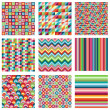 Vector Collection of Nine Bright Geometric Backgrounds — Stock Vector