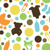Seamless Baby Themed Pattern — Stock Vector