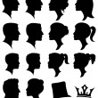 Vector Set of Female and Male Adult and Child Cameo Silhouettes — Stock Vector #23299614