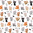 Cute Cat Themed Seamless Background — Stock Vector