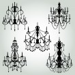 Royalty-Free Stock : Vector Set of Chandelier Silhouettes