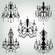Stock Vector: Vector Set of Chandelier Silhouettes