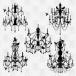 Vector Set of Chandelier Vectors with Birds — Stock vektor