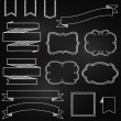 Vector Collection of Chalkboard Style Banners, Ribbons and Frames — Stock Vector