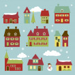 Stock Vector: Vector Winter Village