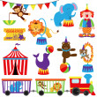 Vector Set of Cute Circus Themed Images — Stock Vector
