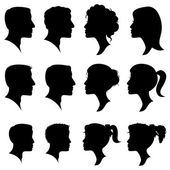 Vector Set of Female and Male Adult and Child Cameo Silhouettes — Stock Vector