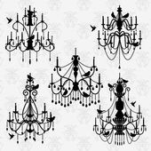 Vector Set of Chandelier Vectors with Birds — Stock Vector