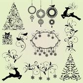 Christmas Design Elements Vector Set — Stock Vector