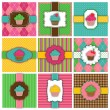 Vector Set of Cupcake Backgrounds — Stock Vector