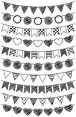 Vector Set of Hand Drawn Doodle Bunting — Stock Vector