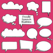 Vector Collection of Cute Doodle Speech or Thought Bubbles — Stock Vector