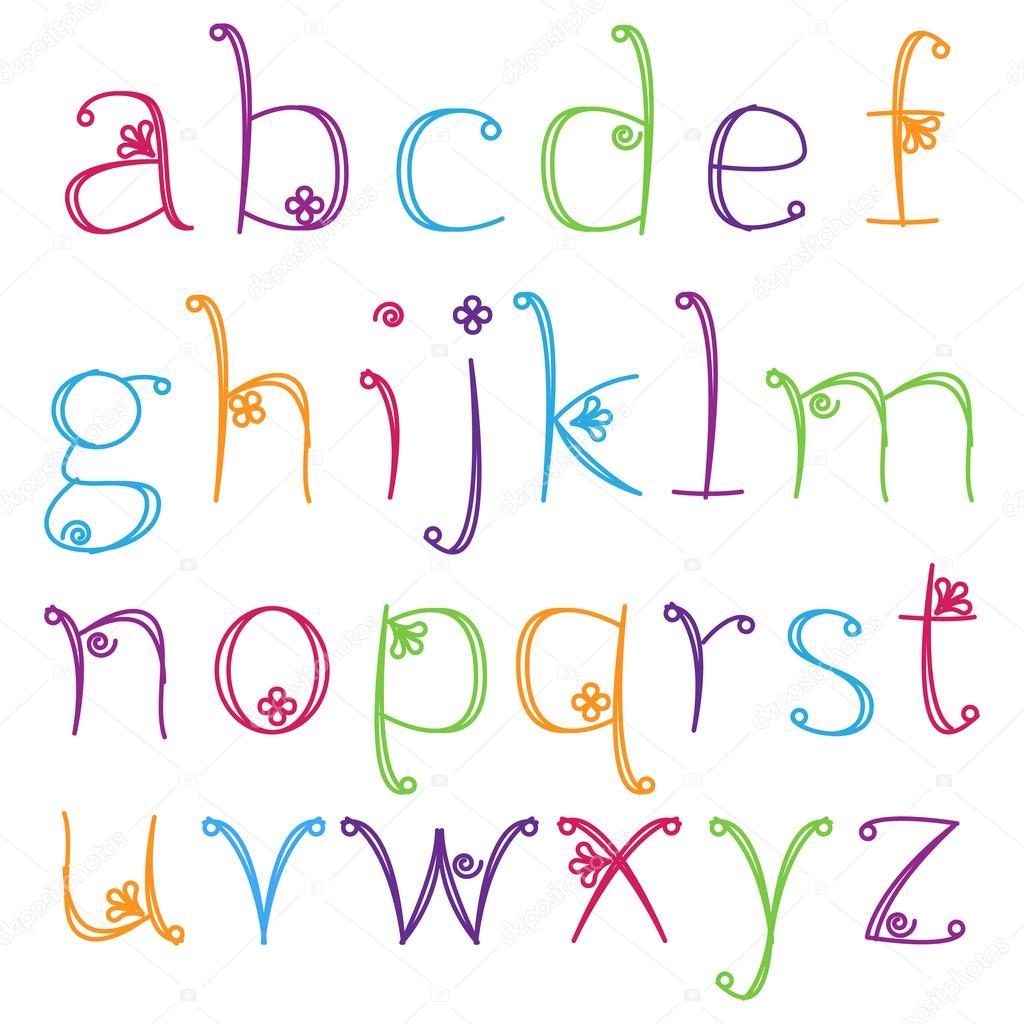 Girly Graffiti Alphabet Hand Drawn AlphabetGirly Letters