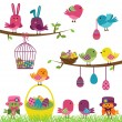 Vector Set of Easter Birds — Stock Vector